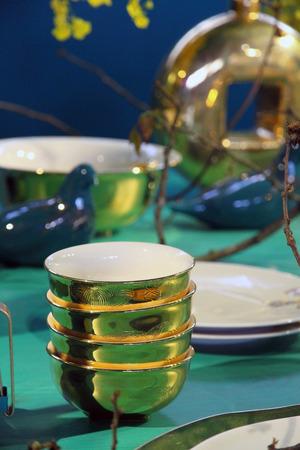 Fine restaurant dinner table setting Stok Fotoğraf - 43488770