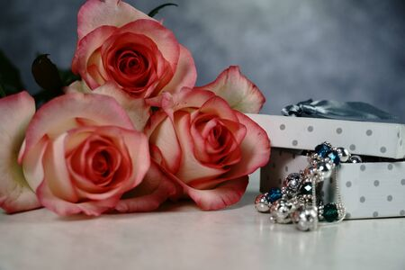 dolce vita rose with gift box on white