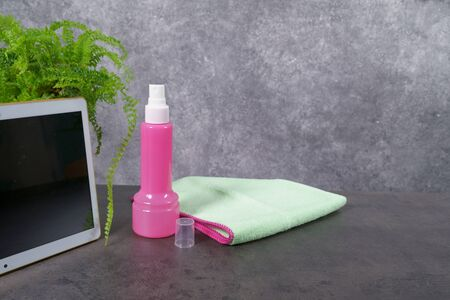 monitor, laptop, tablet cleaning tools with microfiber Stock Photo