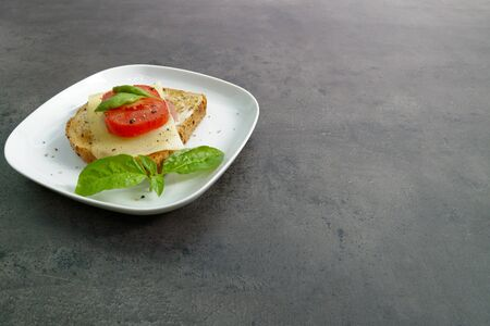 breakfast sandwich on plate. concrete gray table Stockfoto