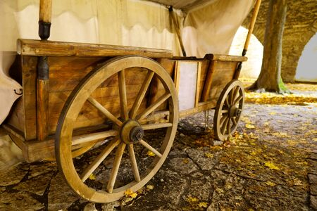 Restored Old Wagon with tent in the Park. night shoot