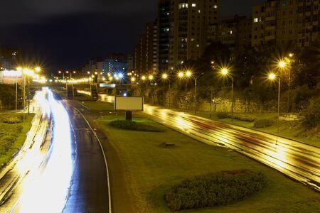 Long exposed road city traffic in Tallinn, Estonia.