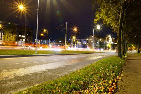 Long exposed road city traffic in Tallinn, Estonia