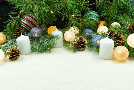 Christmas composition, Christmas decor laid out on a natural linen bedspread. Eco Christmas is always in fashion. Can be used as postcards, backgrounds, wallpapers, posters ...
