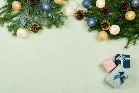 Christmas composition, Christmas decor laid out on a natural linen bedspread. Eco Christmas is always in fashion. Can be used as postcards, backgrounds, wallpapers, posters ... Christmas flat lay
