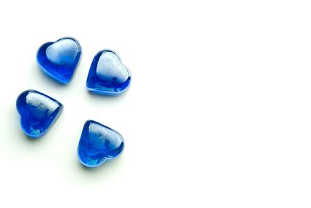 Glass heart blue on the white perfect for San Valentin, lovers, weddings and just great feeling. photo
