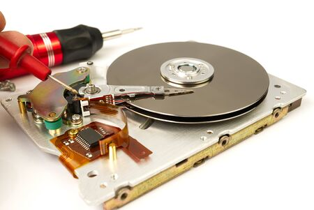 Hard disk repair concept. Hdd - hard disk drive. The hard drive is designed to store data of all mankind, so timely monitoring is very important.