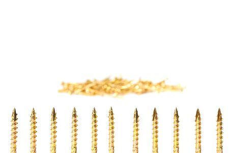Gold screw isolated on white. Yellow zinc chipboard screws, full thread close up