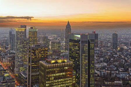 sunset over business center of Frankfurt am Main. FFM