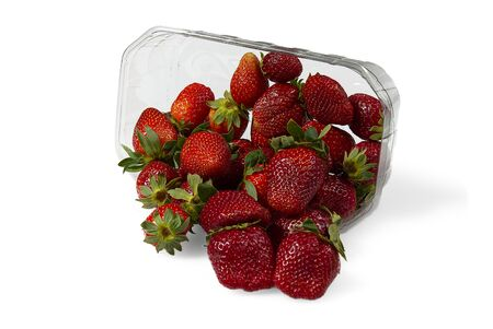 Plastic tray container full of fresh organic strawberries. close - up 版權商用圖片