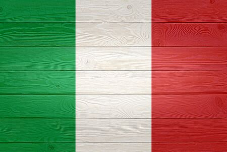 Italy flag painted on old wood plank background. Brushed natural light knotted wooden planks board texture. Wooden texture background flag of Italy