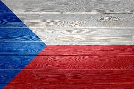 Czech Republic flag painted on old wood plank background. Brushed natural light knotted wooden planks board texture. Wooden texture background flag of Czechia. Stock fotó