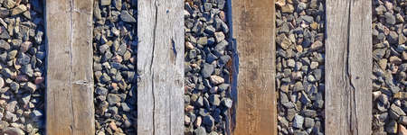 old wooden sleeper on railway, top view background.