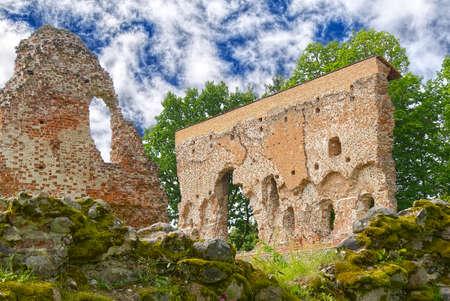 Ruins of medieval castle in Viljandi, Estonia in summer sunny day. soft focus.