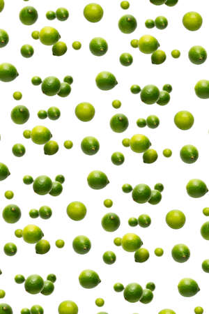Vitamin background made from falling limes. Falling lime isolated on white background. not pattern.