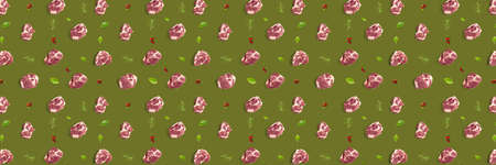 background with raw pork meat slices on olive green background, raw food background, not pattern, banner wide shoot