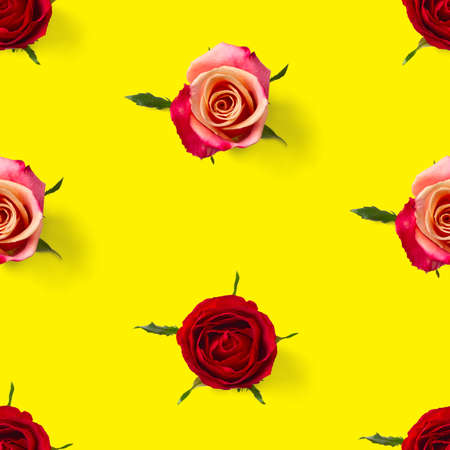 rose bud seamless pattern. head of rose bloom isolated on yellow pattern, pop art