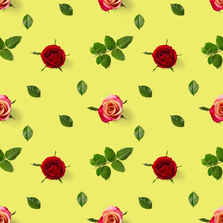 Rosebud seamless pattern. head of rose bloom isolated on green pattern, pop art