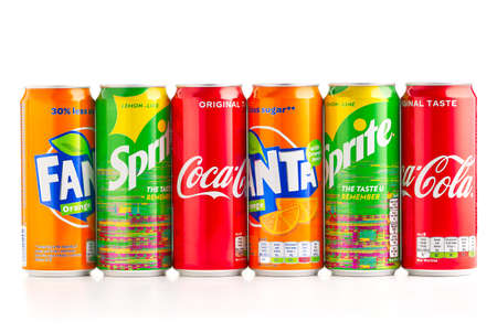 Tallinn, Estonia - 24.04.21: Coca-Cola, Sprite and Fanta brand new metall Cans Isolated On White. The Coca-Cola Company produced drinks