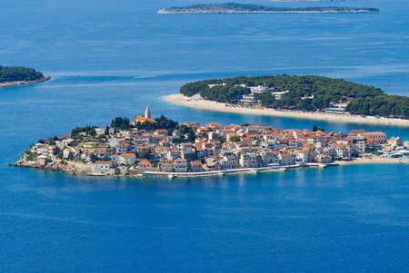 Primosten Croatia traditional village on the coast of adriatic sea, aerial view