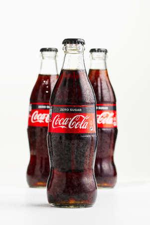 Tallinn, Estonia - 12.02.21 . A bottle of Coca Cola soft drinks. Isolated on white cocacola zero shugar bottle. Éditoriale