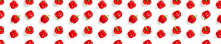 Bulgarian red ripe pepper on white backdrop. background from paprika, flat lay not seamless pattern