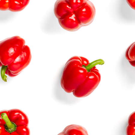 seamless pattern of bulgarian red pepper on white background. paprika wallpaper, sweet pepper print pattern, top view, flat layout, isolated.