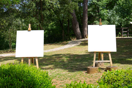 Easel with a blank white sheet of paper stands against the backdrop of a rural landscape. Isolated easel with empty canvas on beautiful wheat landscape. Wooden easel with artist canvas and green park mokup Banque d'images