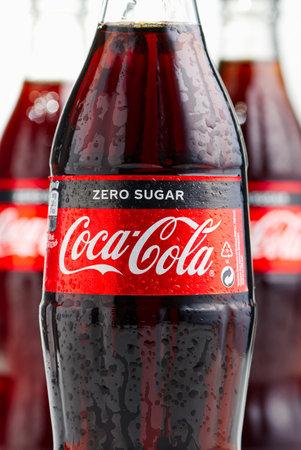 Tallinn, Estonia - 12.02.21 . A bottle of Coca Cola soft drinks. CocaCola Zero shugar label on glass bottle.