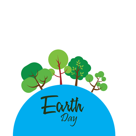 Happy Earth Day with world and tree - Vector Ilustracja