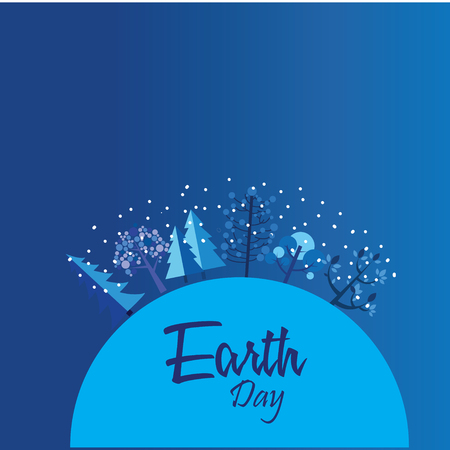 Happy Earth Day with world and tree - Vector Ilustrace