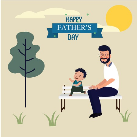 Happy Father's Day Calligraphy greeting card. Vector illustration. - Vector