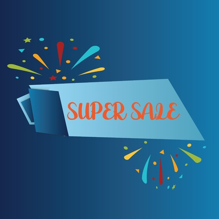 SUPER SALE isolated on BLUE background. Realistic vector paper template for promo and sale advertising. - Vector