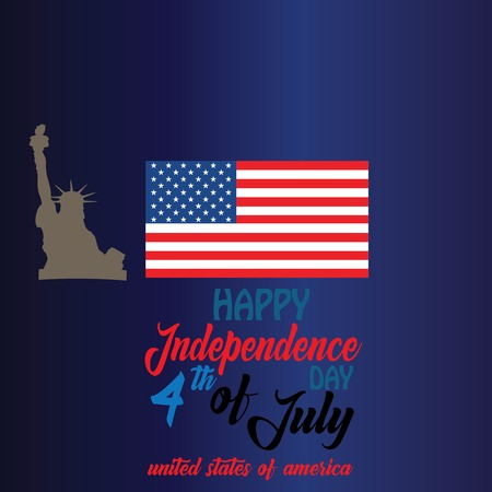 Blackguard for 4th of July with american flag and Confetti.USA independence day celebration with American flag.USA 4 th of July promotion advertising banner template - Vector