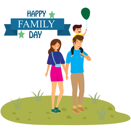 Happy Family Day! Excellent gift card. Fashionable calligraphy. Vector illustration. Elements for design. - Vector Çizim