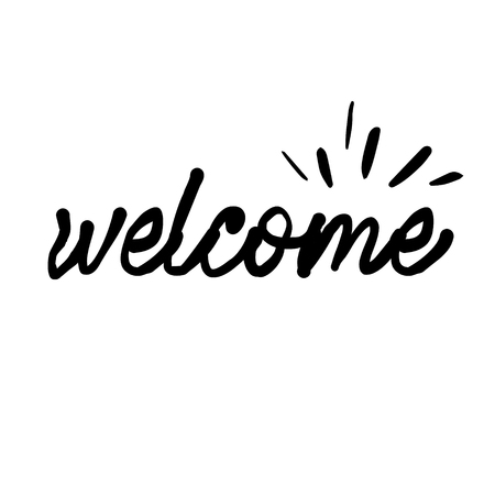 Lettering hello welcome wrote by brush. Hello welcome calligraphy. - Vector