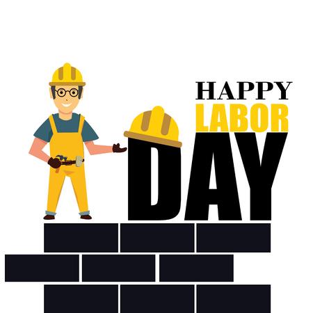 Happy Labor Day banner. Design template. Vector illustration - Vector Çizim