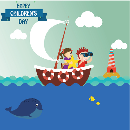 Happy children day background. Vector illustration of Universal Children day poster. Greeting card. Flat. Round frame. - Vector Stock Illustratie