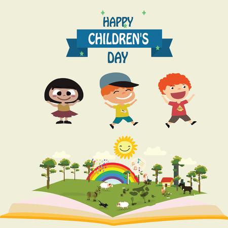 Happy children day background. Vector illustration of Universal Children day poster. Greeting card. Flat. Round frame. - Vector Stock Illustratie