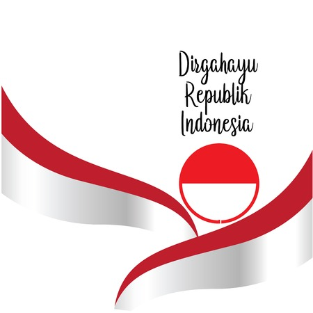 Happy independence day indonesian translation. Flag banner of indonesian happy independence day. - Vector