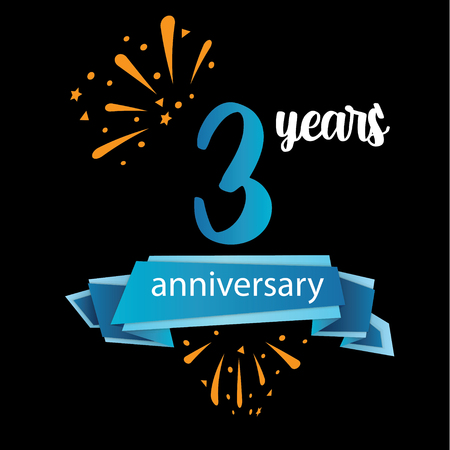 3 anniversary pictogram icon, years birthday logo label. Vector illustration. Isolated on black background - Vector