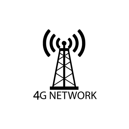 Vector technology icon network sign 4G. Illustration 4g internet symbol in flat line minimalism style. - Vector - Vector 向量圖像