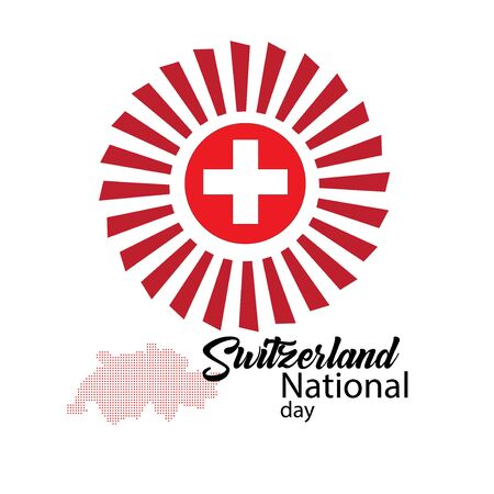 Switzerland flag, happy swiss national day - Vector