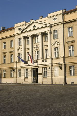 arhitecture: Building of Croatian State Parlament is nice exemplar of eureopean cassicism style of arhitecture with two flags