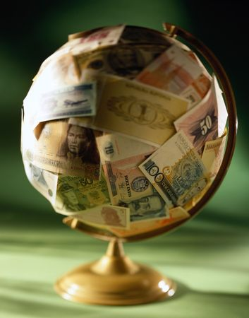 nominal: collage - globe on soft money glue different of the countries and different of the nominal value