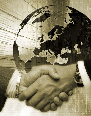 ingenious: handshake two mans after ingenious terminations negotiations on background drawing globe Stock Photo