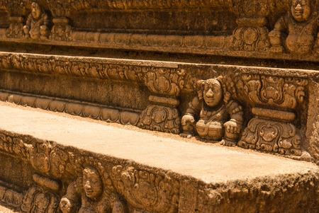 stone stairs: Historical decorative stairs, Anuradhapura, Sri Lanka