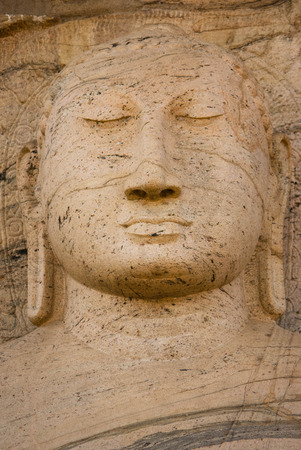 gal: Closeup of meditating Buddha statue at Gal vihare, Polonnaruwa, Sri Lanka