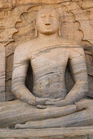 gal: Meditating Buddha statue at Gal vihare, Polonnaruwa, Sri Lanka Stock Photo