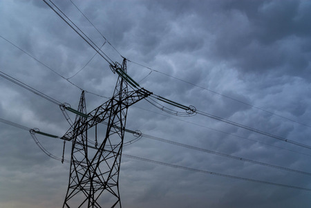 stormy: Powerlines under a stormy sky Stock Photo
